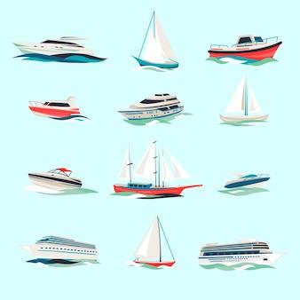 Marine boten cruise zeereizen jacht motor schepen plat pictogrammen set met jet cutter abstracte geïsoleerde vector illustratie