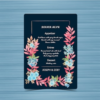 Marine bruiloft menukaart met mooie bloem