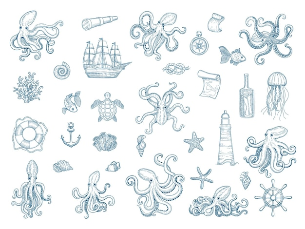 Marine illustraties. octopus nautische set wilde inktvis schelpen monster kraken hand getrokken collectie.