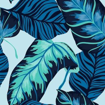 Marine monstera gebladerte vector naadloze patroon. lucht populaire banaan illustratie hawaiiaanse stijl. magenta blad moderne achtergrond. indigo monstera boom print