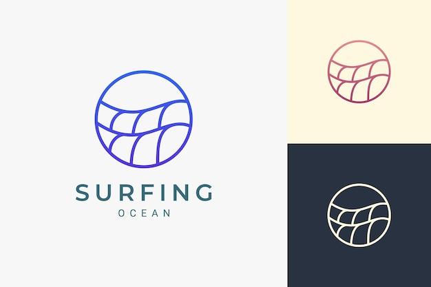 Marine- of waterthema-logo in de vorm van een eenvoudige oceaangolfcirkel