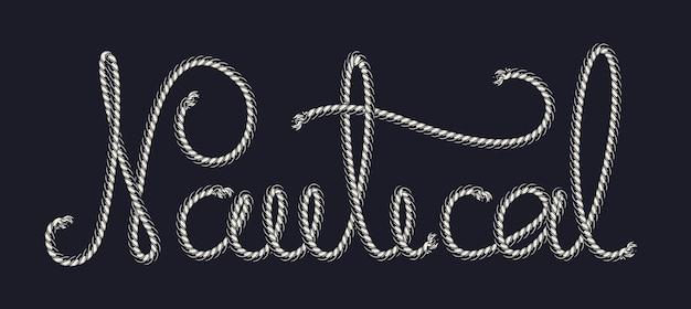 Marine patroonpenseel sjabloon met nautische touw inscriptie geïsoleerd op donkere ondergrond