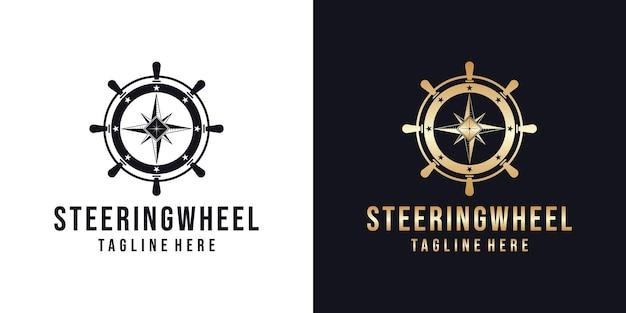 Marine stuurwiel logo ontwerpsjabloon