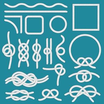 Marine touw knoop. touwen frames, touw knopen en decoratieve snoerverdeler geïsoleerde set