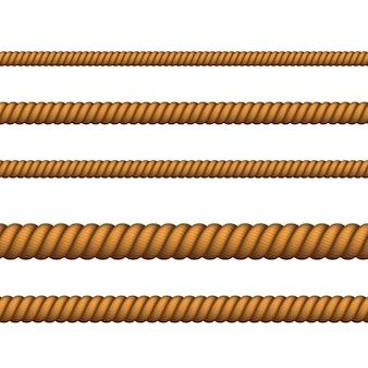Marine touw van verschillende kleur voor rand of frame. zeevaarttouw dun en dik. klimmen gedraaid touw voor lasso- of zeeknopen.