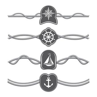 Marine touwen vector verdelers en randen.