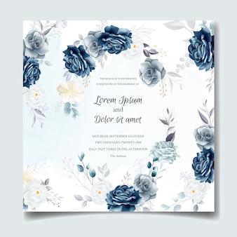 Marineblauw bloemen bruiloft uitnodiging kaartsjabloon met gouden bladeren en aquarel frame