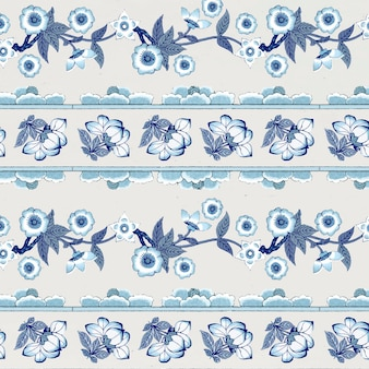 Marineblauw bloemenpatroon als achtergrond