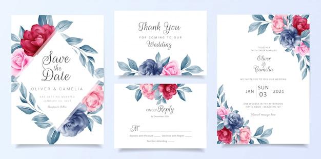 Marineblauw bruiloft uitnodigingskaart sjabloon set met florale frame en decoratie