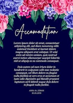 Marineblauwe achtergrond pioenroos bloem bruiloft uitnodigingskaart.