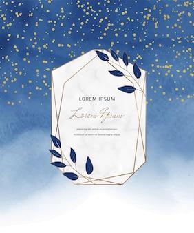 Marineblauwe aquarel kaart met gouden confetti en marmeren frame