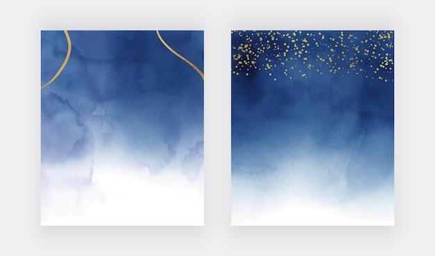 Marineblauwe aquarel textuur met gouden confetti en lijnen