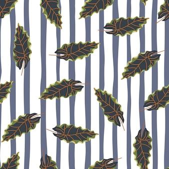 Marineblauwe doodle willekeurige bladeren naadloze patroon in de hand getekende stijl