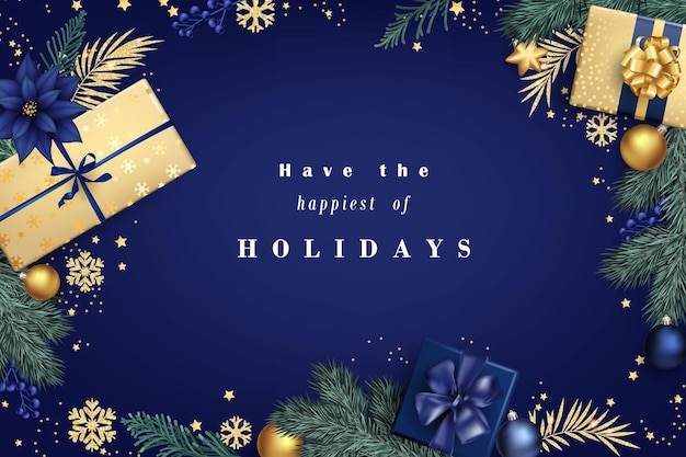 Marineblauwe en gouden stijlvolle kerstcompositie met geschenkdozen