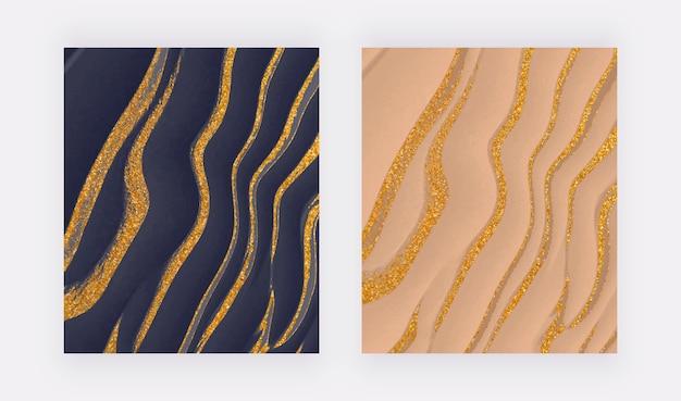 Marineblauwe en nude vloeistof met gouden glitter inkt abstracte achtergronden.