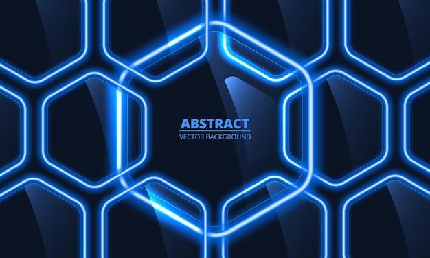 Marineblauwe glazen zeshoekige abstracte achtergrond met blauwe neonlichten