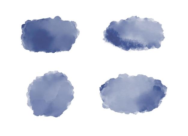 Marineblauwe penseelstreek aquarel spatten voor uitnodigingen voor sociale media banners