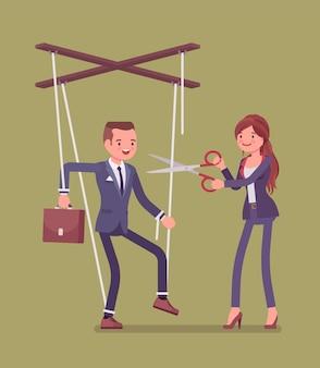 Marionet zakenman bevrijd van slavernij of onderdrukking
