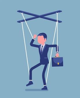 Marionette zakenman, gemanipuleerde of gecontroleerde marionet gewerkt door touwtjes. mannelijke manager onder invloed van de baas, macht om zakelijke bestellingen uit te voeren, beslissingen te nemen. vectorillustratie, gezichtsloos karakter
