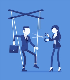 Marionette zakenman vrij van onderdrukking. bevrijding van de man, man die persoonlijke rechten geniet na invloed, controle, vrouw die popkoorden doorknipt met een schaar. vectorillustratie, gezichtsloze karakters