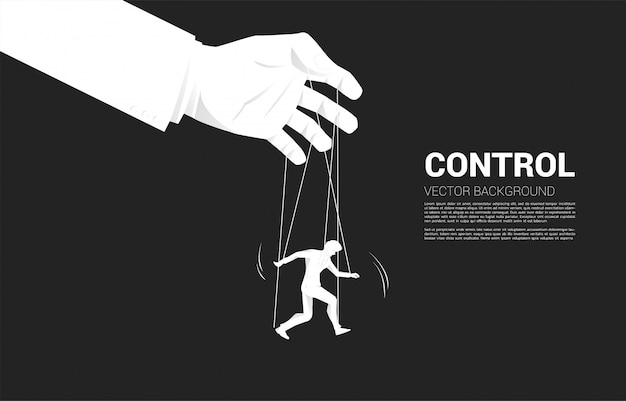 Marionettenmeester beheersend silhouet van zakenman. concept van manipulatie en micromanagement