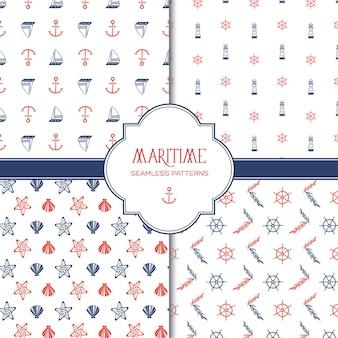 Maritiem hand getrokken naadloos patroon met kleurrijke mariene en nautische elementen