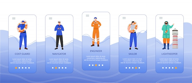 Maritieme beroepen onboarding mobiele app-schermsjabloon. kustwacht, ingenieur en navigator. walkthrough website stappen met platte karakters. ux, ui, gui smartphone cartoon interface-concept