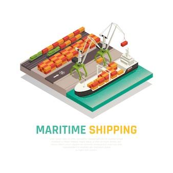 Maritieme scheepvaart isometrische samenstelling Gratis Vector