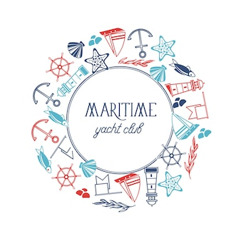 Maritieme yacht club ronde frame sjabloon