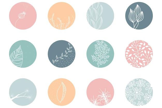 Markeer dekkingsset, abstracte bloemen botanische pictogrammen voor sociale media. vector illustratie
