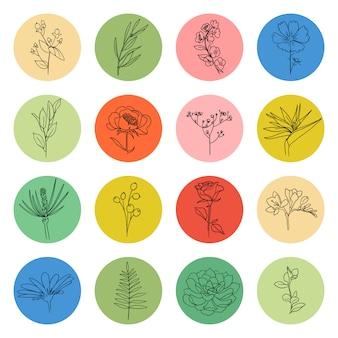 Markeer dekt vector collectie. cirkelvorm met bloem plant element binnen, social media verhalen icon set. verschillende vormen, lijnstijl, doodle stickers, grafisch logo. handgetekende sjablonen.