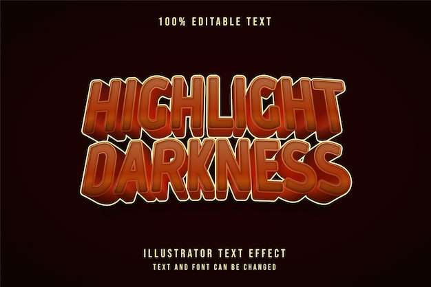 Markeer het bewerkbare teksteffect van duisternis met gele gradatie