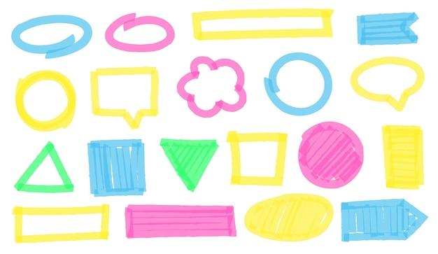 Markeer markeringskaders. kleurrijke geometrische figuren en vormen grens als ellips, vierkant, cirkel, rechthoek en driehoek. heldere tekstballon of wolken voor tekst vectorillustratie