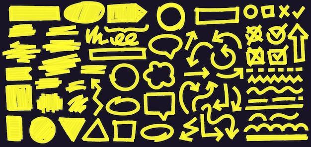 Markeer markeringslijnen op zwarte achtergrond. doodle vinkjes met teek en kruis in vak. bochtige en onderbroken lijnen en geometrische vormen. pijl in andere richting vectorillustratie