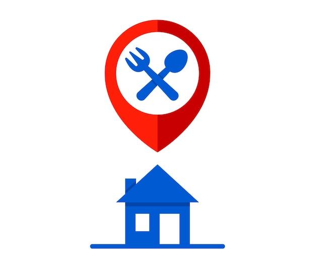 Markeer op het huis. thuis dineren en eten bestellen. platte vectorillustratie.
