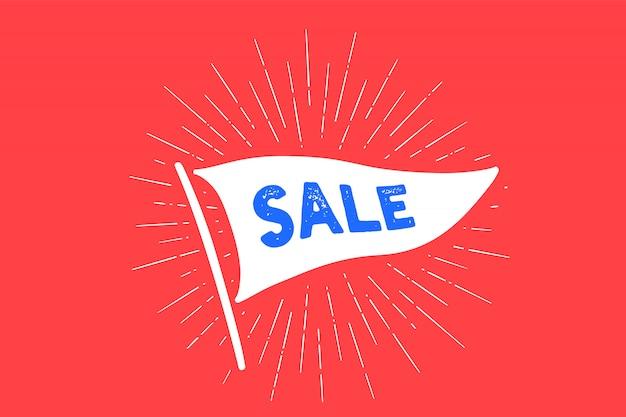 Markeer sale. old school vlag banner met tekst verkoop. lintvlag in vintage stijl met lineaire tekening lichtstralen, zonnestraal, zonnestralen. hand getekend voor korting, verkoop. illustratie