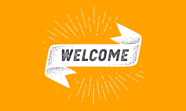 Markeer welcome. old school vlag banner met tekst welkom.