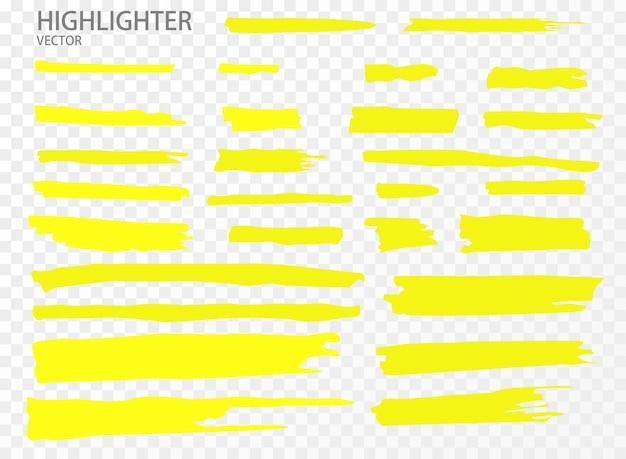 Markeerstift instellen. hand getrokken gele markeerstift strepen.