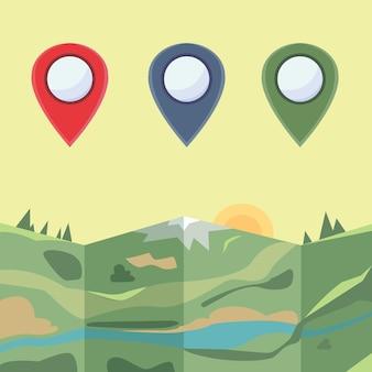 Markeringen om in kaart te brengen. gekleurde pictogrammen