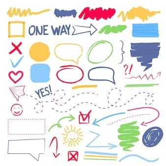 Markeringsmarkering. selectie grenzen frames pijlen hand getekende gekleurde collectie