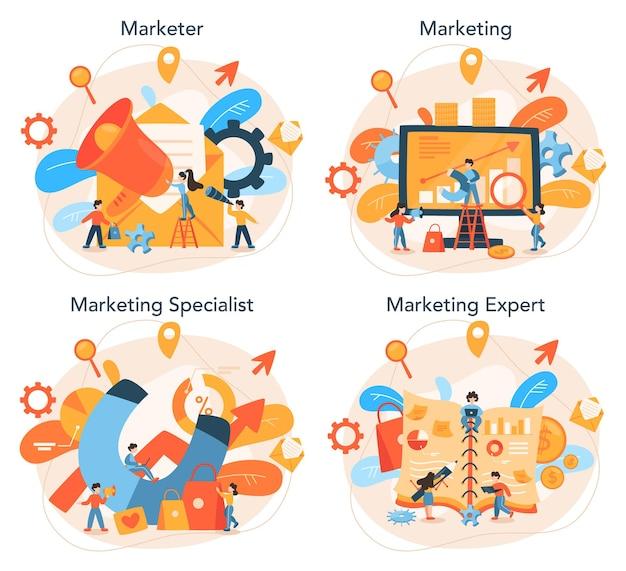 Marketeer ingesteld reclame- en marketingconcept
