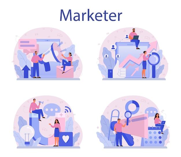 Marketeer ingesteld. reclame- en marketingconcept.