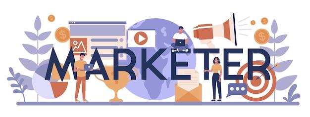 Marketeer typografische header concept