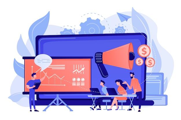 Marketeers leren van collega-professionals tijdens meetup met presentatiebord. marketingbijeenkomst, het delen van ervaringen, het concept van marketingexpertise