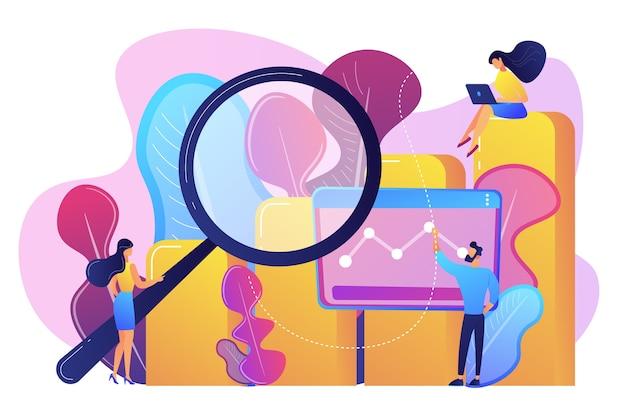 Marketeers met vergrootglas onderzoek marketing kansen grafiek. marketingonderzoek, marketinganalyse, marktkansen en problemenconcept.
