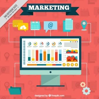 Marketing achtergrond met computer en pictogrammen