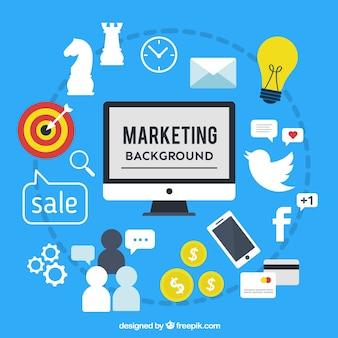 Marketing achtergrond met computer en verschillende elementen in plat design