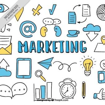 Marketing achtergrond met de hand getekende iconen