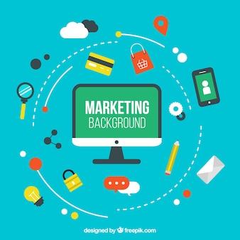 Marketing achtergrond met een verscheidenheid aan producten