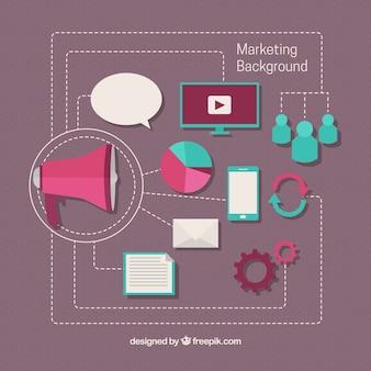 Marketing achtergrond met megafoon en onderzoek pictogrammen
